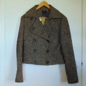 The Limited, Vintage, Waist Length Jacket, Tweed, Brown, Lined, Size S